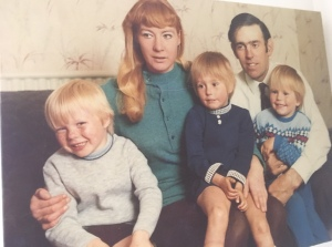 Jonathan, Mummy, Mia, Daddy & Lester with Heidi inside mummy 1970/71