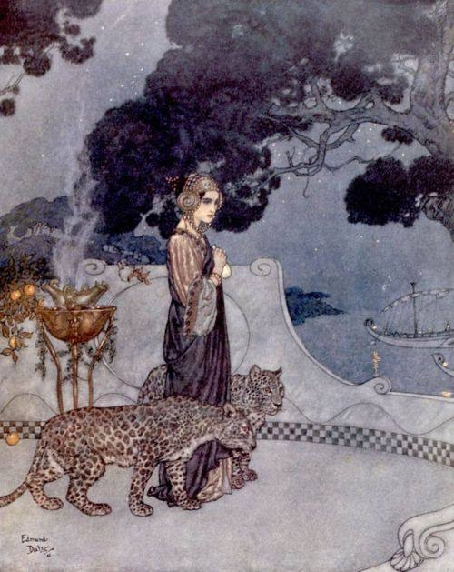 Goddess and leopards